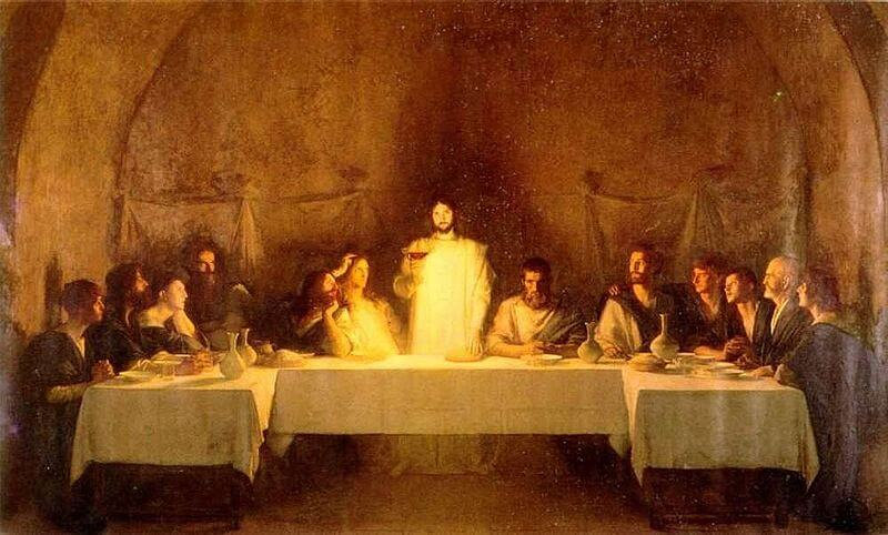 Jesus Christ keeping the Passover of the New Covenant with His disciples on the 14th day of the first month of the sacred calendar.