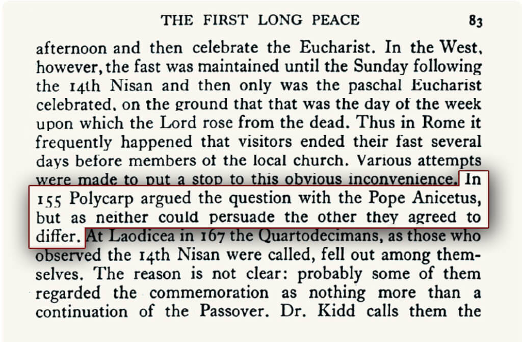 "The first Passover Controversy in A.D. 155 between the Eastern and Western Churches, recorded in the book ""A History of the Early Church to A.D. 500."