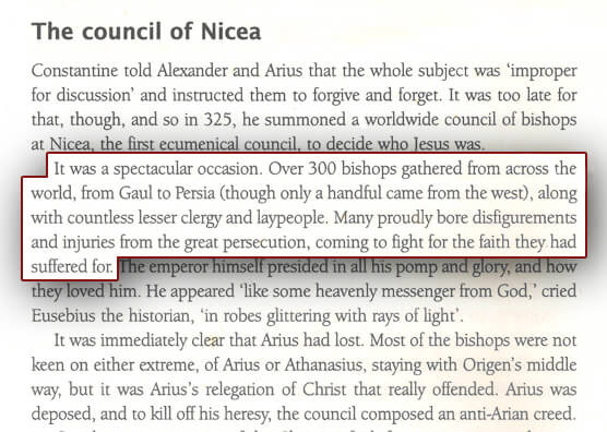 "Over 300 bishops from all over the world gathered to attend the Council of Nicaea, depicted in the book ""A Short History of Christianity"""